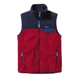 Men's Patagonia Synchilla Red and Navy Block Vest